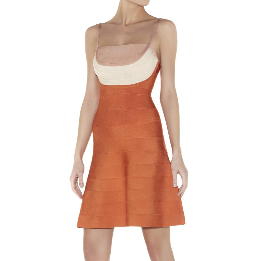 Herve Leger Orange Britt dress