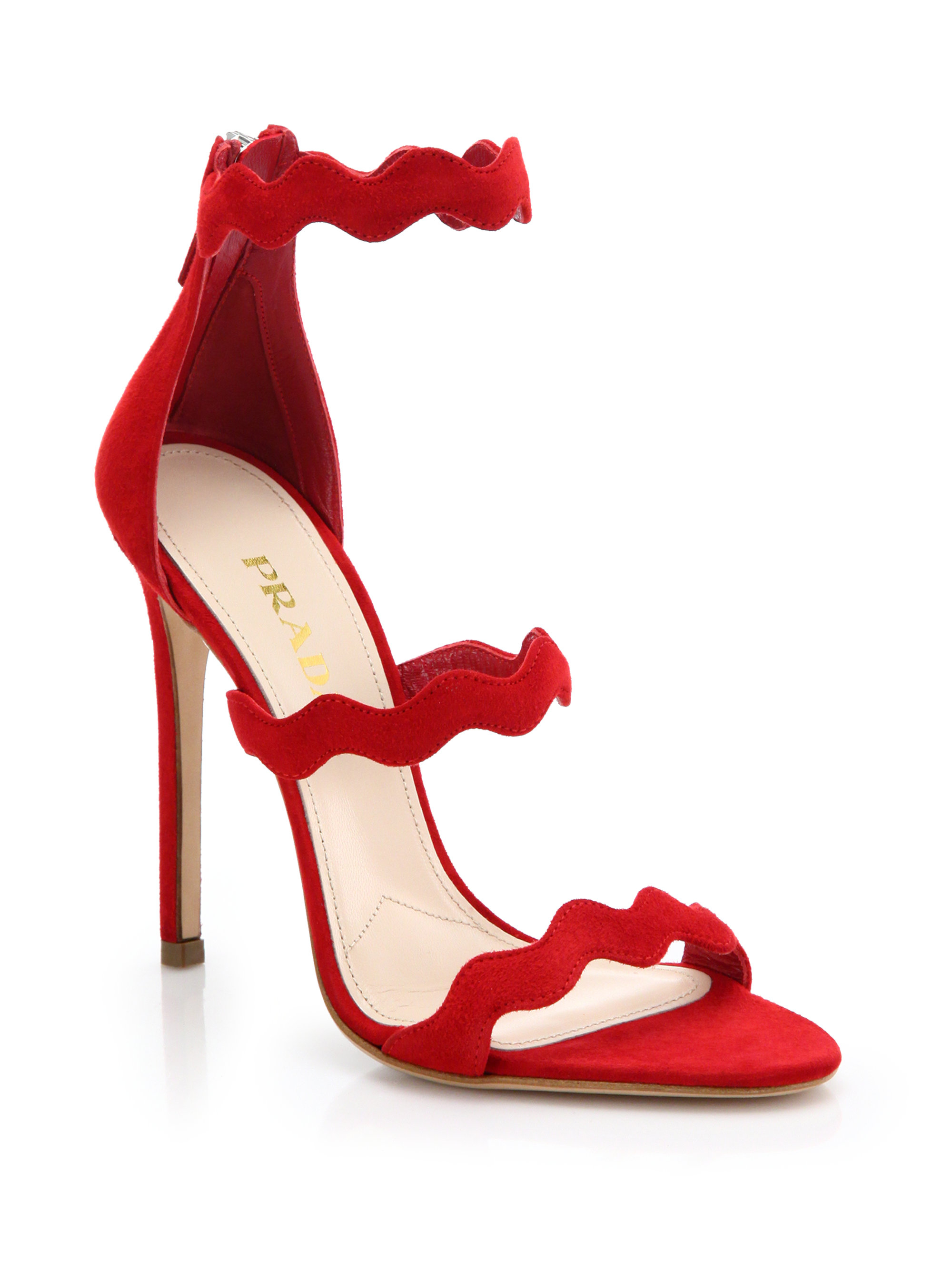fb755b87c95 Prada Red Scalloped Suede Sandals