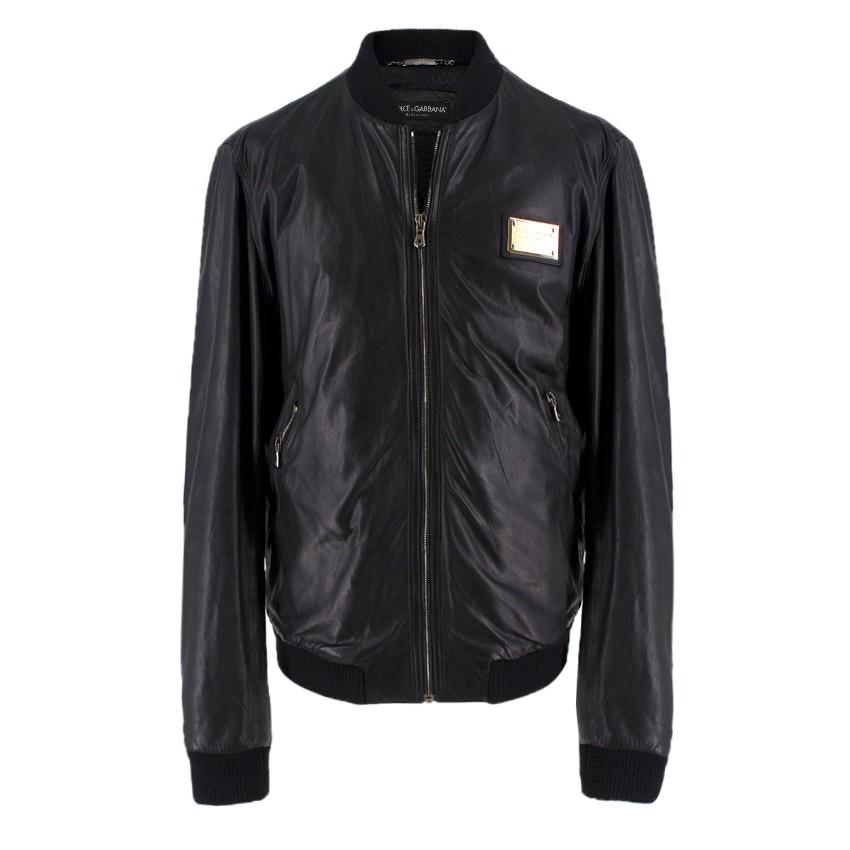 Dolce & Gabanna Black Lambskin Leather Bomber Jacket
