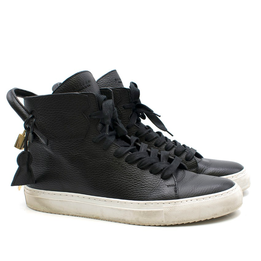 Buscemi Cavallino black leather high-top trainers