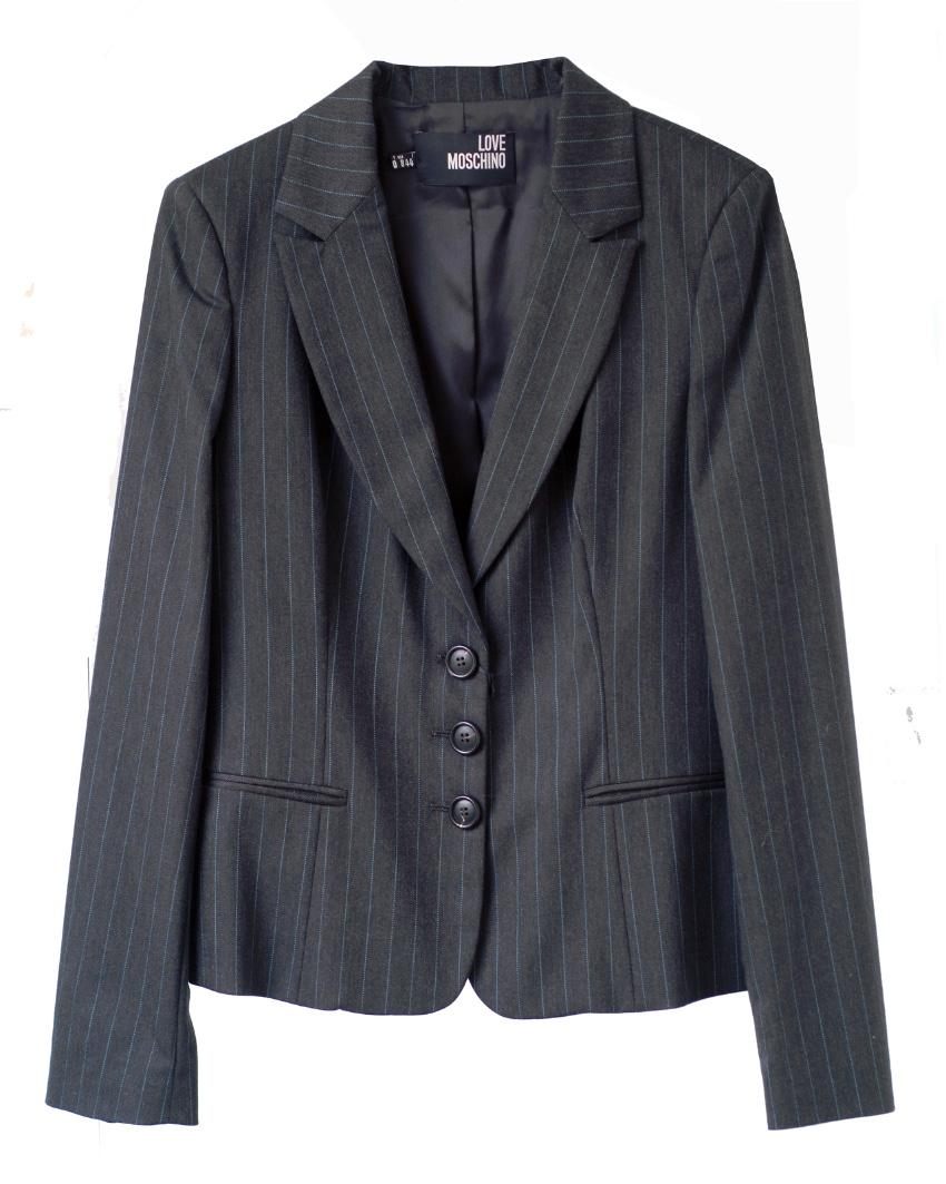 Love Moschino grey & teal pinstripe jacket