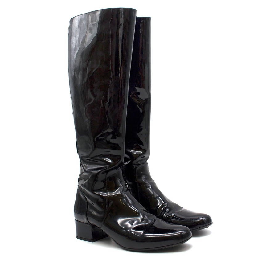 Saint Laurent Black Patent Leather Knee Boots