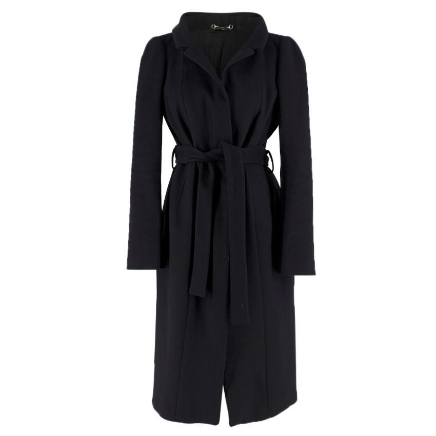 Gucci Black Wool Wrap Coat