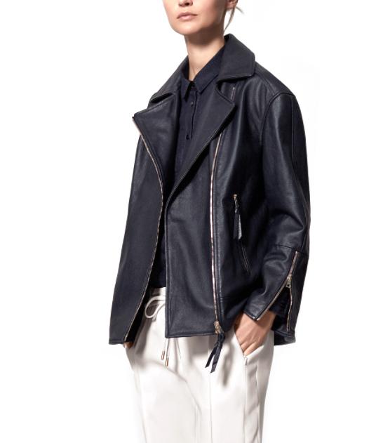 Me+Em Navy Boyfriend Leather Jacket