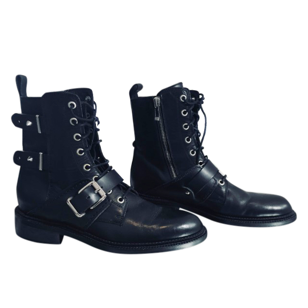 Barbara Bui Leather Biker Ankle Boots