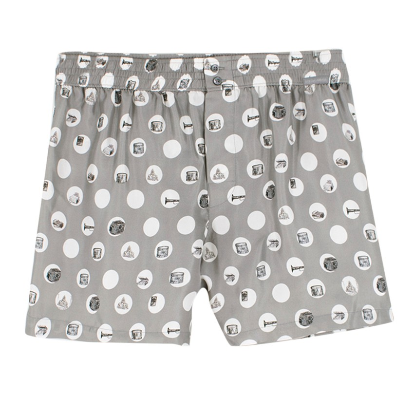 3204a527 Dolce Gabbana Silver Patterened Silktwill Boxer Shorts   HEWI London