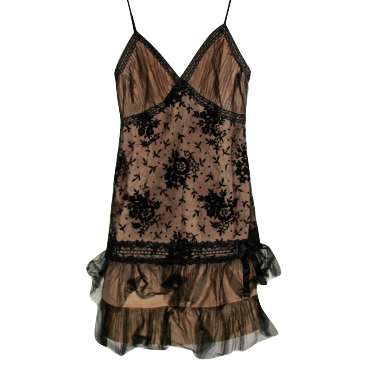 Anna Sui Bronze Satin & Black Lace Mini Dress
