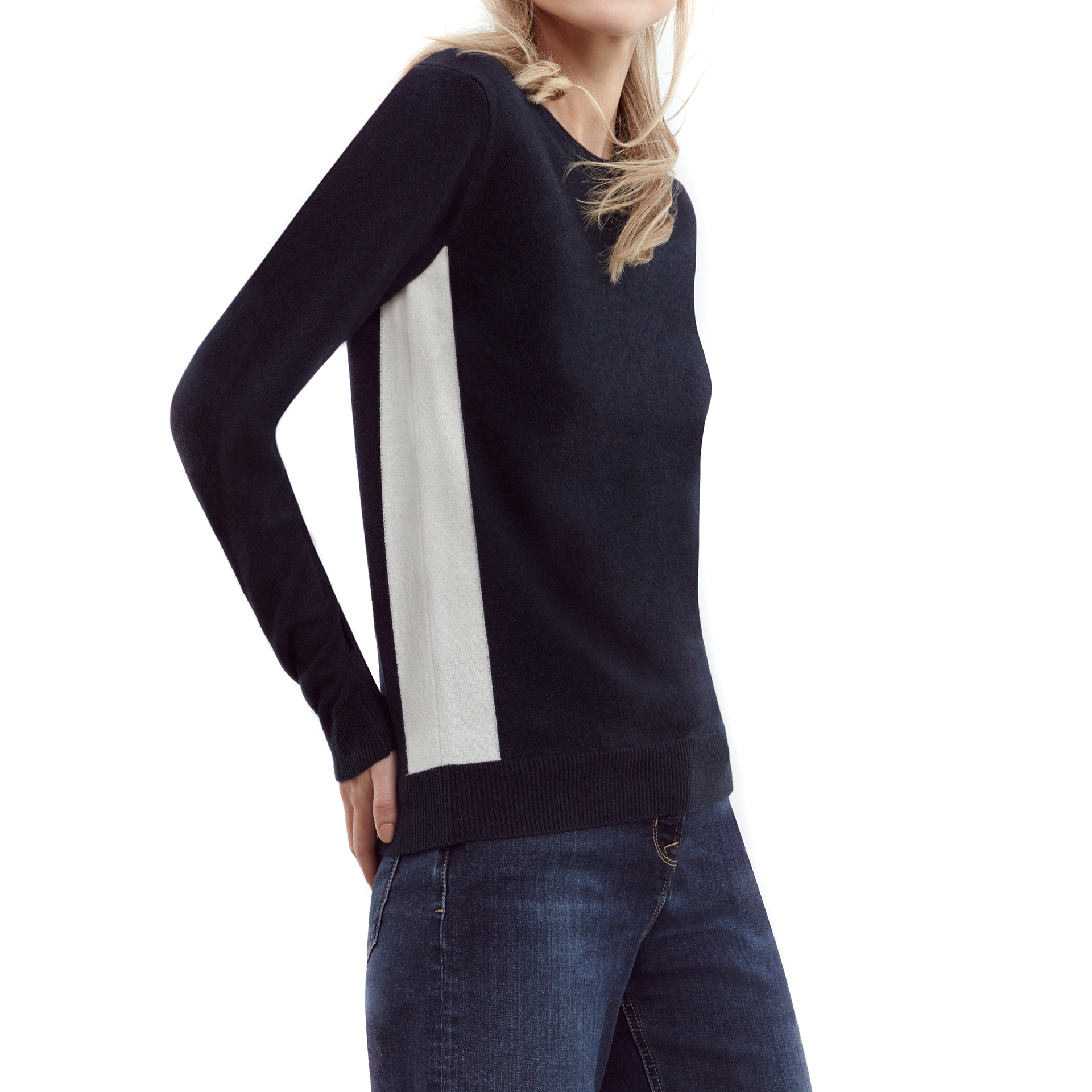 Me + Em side-stripe cashmere sweater
