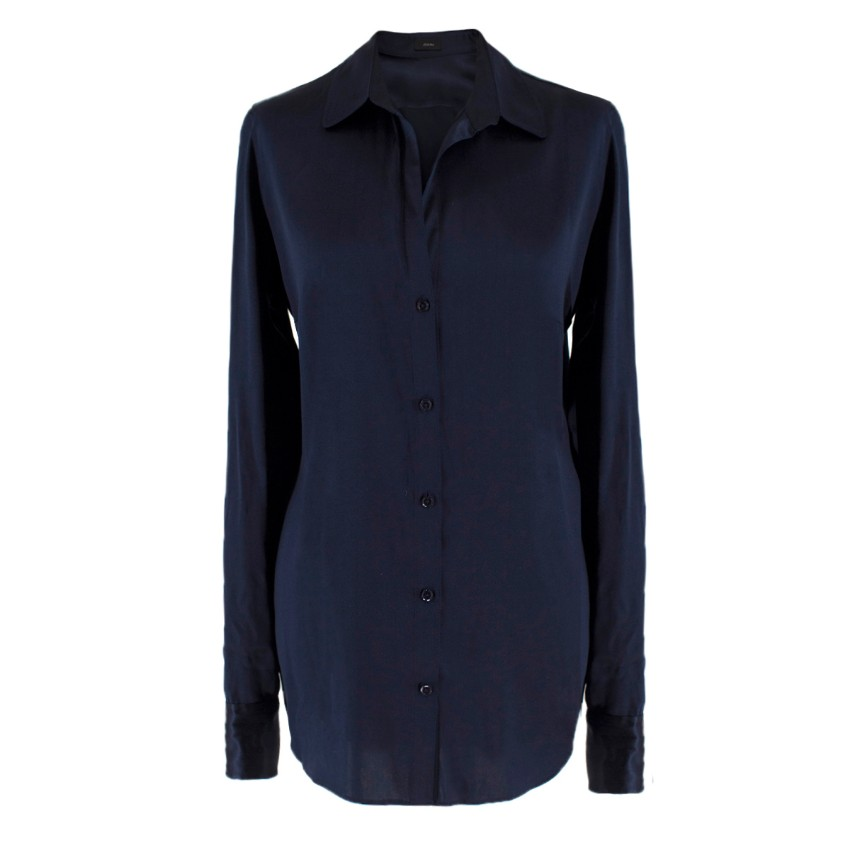 Joseph Navy Silk Satin Shirt