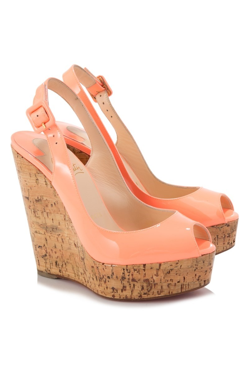 brand new 7f76e ccaa2 Christian Louboutin une plume slingback patent calf/cork Wedges shoes
