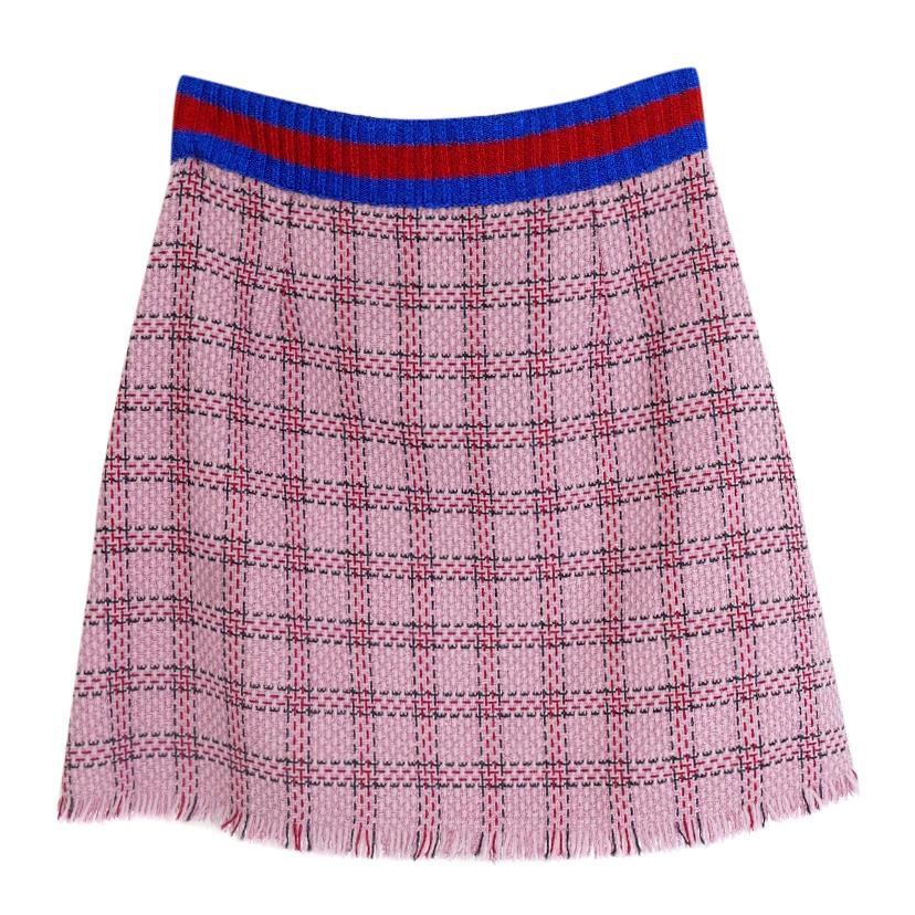 Gucci Pf16 Pink Metallic Tweed Web Trim Skirt  48b97024d4
