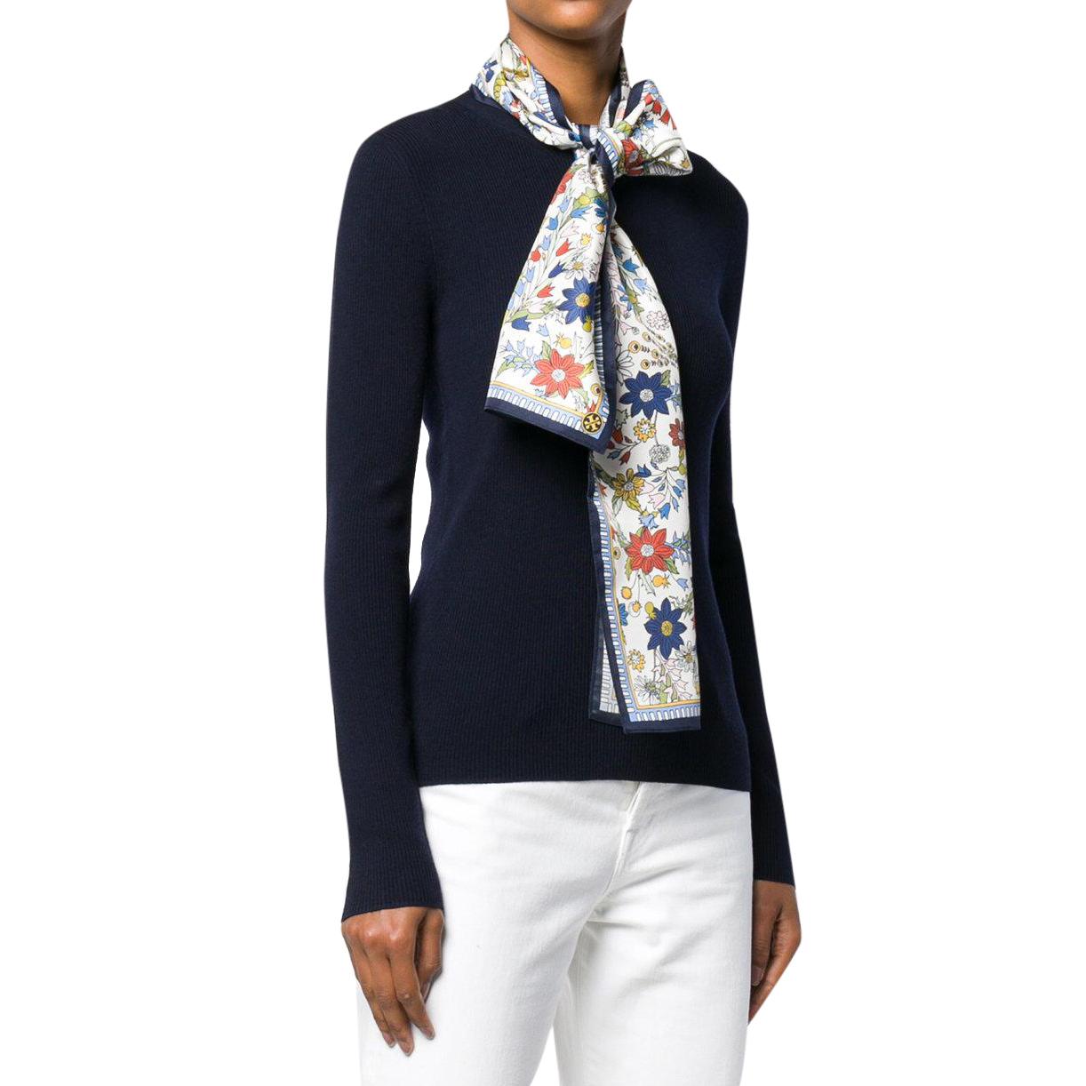 Tory Burch Laura Rib Knit Sweater & Silk Scarf