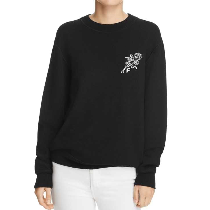 Frame Denim rose-embroidered black sweater