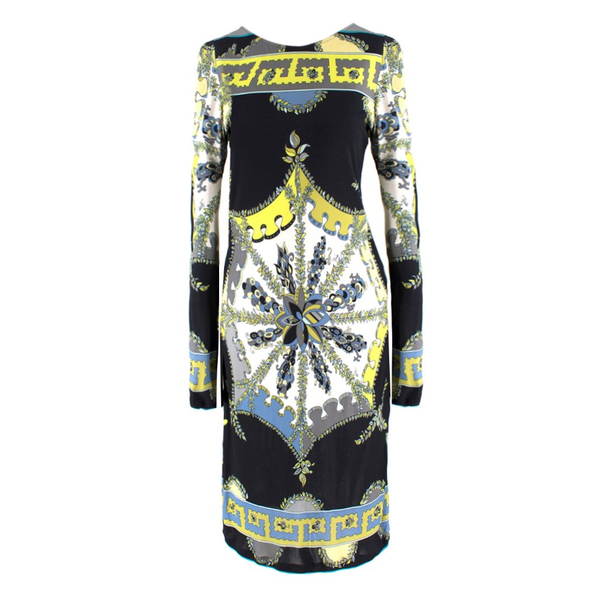 Emilio Pucci Black Abstract Pattern Dress