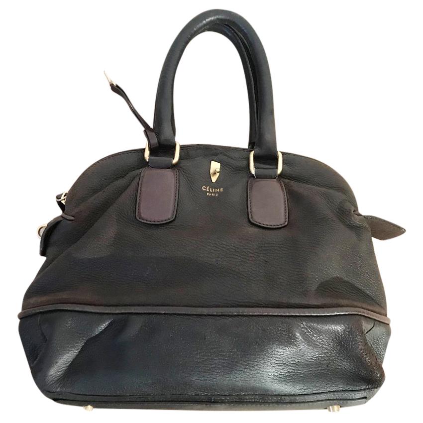 Celin dark brown calf leather bowling bag