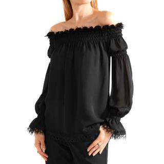 Oscar de la Renta Off-the-shoulder Lace-Trimmed Silk Chiffon Top