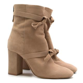 Alexandre Birman Nude Suede Heeled Ankle Boots