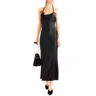 Attico 'Sophia' Crystal-Embellished Satin Halter Gown