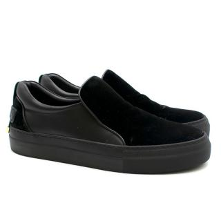 Buscemi Black Velvet Slip-On Trainers