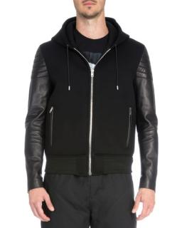 Givenchy leather-sleeve neoprene bomber jacket