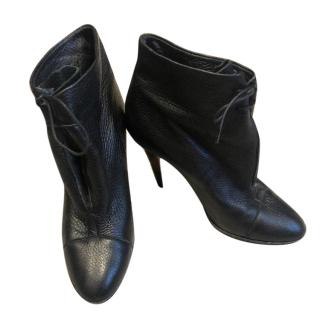 Burberry Black Soft Leather Ankle Boots
