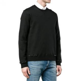 Valentino Rockstud black cotton-blend sweatshirt - New Season