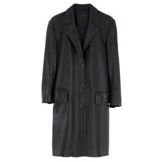 Prada black long leather oversized jacket