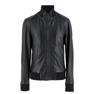 Dolce & Gabbana black leather bomber jacket