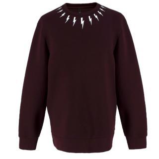 Neil Barrett zip-side burgundy neoprene sweatshirt