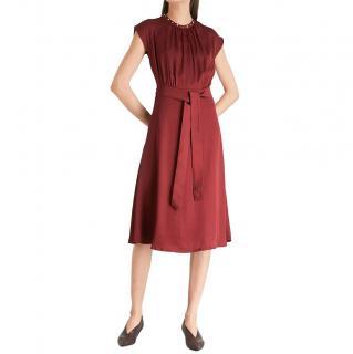 Sandro Faux-Pearl Embellished Satin Dress