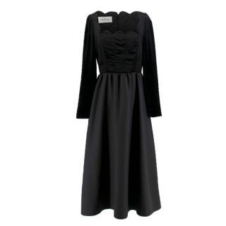 Valentino black velvet-panel wool & silk-blend dress