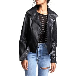 Mackage black leather jacket