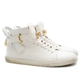 Buscemi padlock white leather high-top trainers