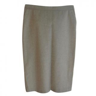 Moncler Oatmeal Wool Cashmere Blend Skirt