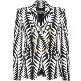 Balmain leaf print double breasted blazer