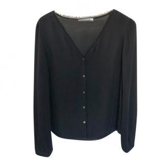 Elizabeth and James Black Silk Shirt