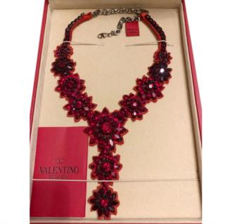 Valentino red crystal floral and red satin bib necklace