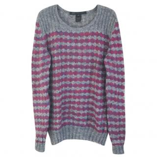 Marc by Marc Jacobs Grey & Pink Stripe Mohair Knit Jumper