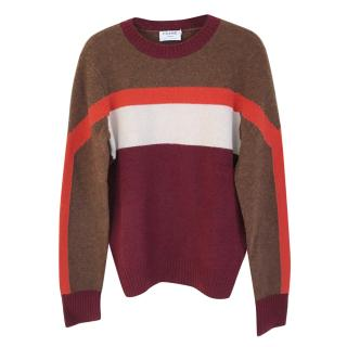 Frame Colour Block Cashmere Sweater with Orange Stripe