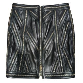 Tom Ford leather zip detail skirt