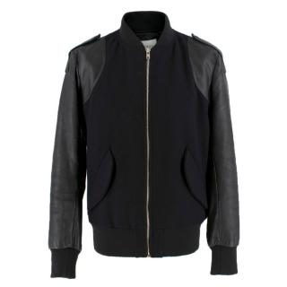 Sandro Black Leather Sleeve Bomber Jacket