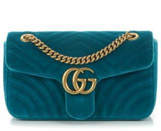 Gucci Petrol Blue Velvet GG Marmont Bag