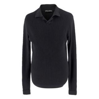 Dolce & Gabanna Black Ribbed Long-Sleeved Polo Shirt