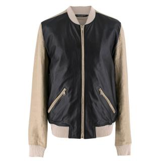 Dolce & Gabanna Beige & Black Leather Blend Bomber Jacket