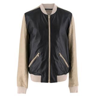Dolce & Gabanna Beige & Black Leather Blend Bomber Jacket