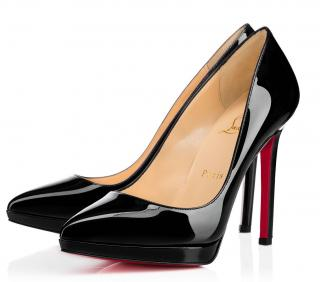 Christian Louboutin Pigalle Plato 120 Black Patent Leather Pumps