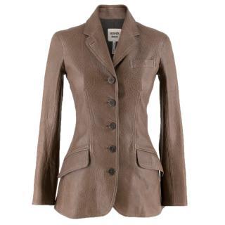 Hermes grained bison leather jacket