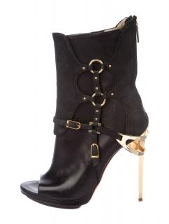 Herve Leger Alyn Leather Ankle Boots