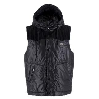 Dolce & Gabanna Black Pull-String Hooded Gillet