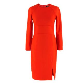 Freda Elena red wool-blend cady dress